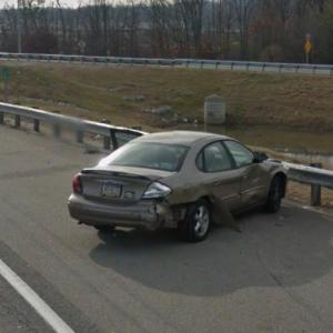 Car spun out and crashed (StreetView)