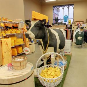 Cow wearing a cheesehead hat (StreetView)