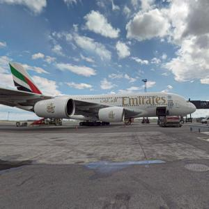 Emirates Airbus A380 at Copenhagen Airport (CPH) (StreetView)