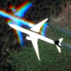 Airplane in flight (Google Maps)