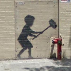 Graffiti by Banksy (StreetView)