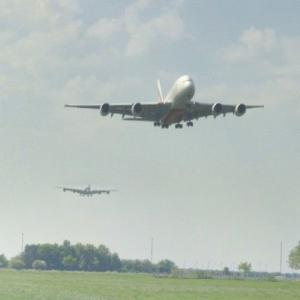 Emirates Airbus A380 approaching CPH (StreetView)
