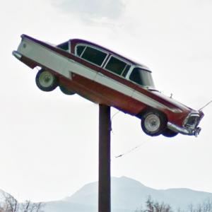 1957 Nash Ambassador on a sign pole (StreetView)
