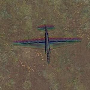 Lockheed U-2 Dragon Lady in flight over Beale AFB (Google Maps)
