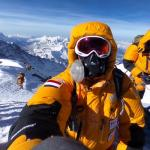 Mountaineers on top of Mount Everest