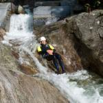 Sliding down a waterfall