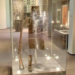 Ned Kelly's armour, rifle and a boot at State Library Victoria (StreetView)