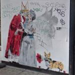Pope kissing Queen Elizabeth II graffiti