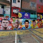 Soccer players mural