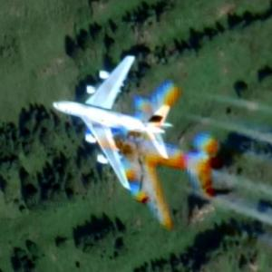 Airbus A380 passing north over Kitzbühel (Google Maps)