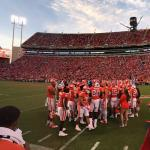 Football game in progress at Clemson Univeristy