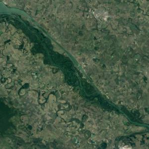 Szigetköz (largest island in Hungary) (Google Maps)