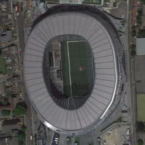Tottenham Hotspur Stadium with NFL logo (Google Maps)