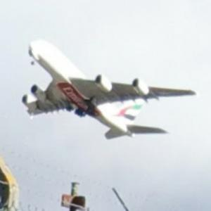 Emirates Airbus A380-800 takeoff from BHX (StreetView)