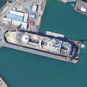 Oasis of the Seas in drydock in Cadiz (Google Maps)