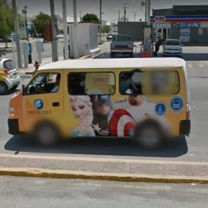 Captain America and Frozen in van (StreetView)