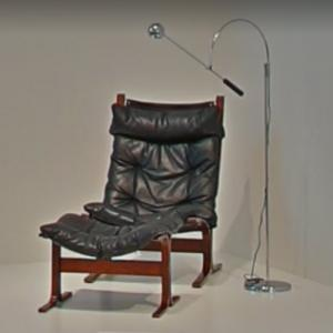 'Siesta Chair and Ottoman' and 'Suspended Arch Arm Orbiter Floor Lamp' by Ingmar Relling and Robert Sonneman (StreetView)