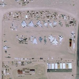 Aircraft boneyard at China Lake Naval Air Weapons Station (Google Maps)