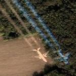 Airplane leaving contrail (Google Maps)