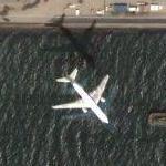 Airplane approaching Tokyo International (Google Maps)