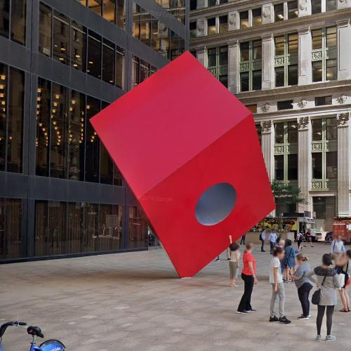 'Red Cube' by Isamu Noguchi (StreetView)