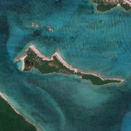 "Nicholas Cage's ""Leaf Cay"" island (Google Maps)"