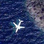 Airplane in flight over Portofino coast (Google Maps)
