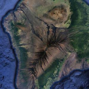 Mauna Loa volcano lava flow (Google Maps)