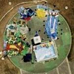 Deflated bouncy houses and slides (Google Maps)
