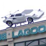 Lamborghini Countach mounted on the roof (StreetView)