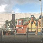 Forklift and workers