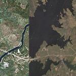 Alqueva Reservoir, before and after (Google Maps)