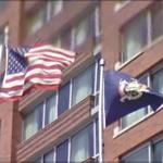 US and New York State flags (StreetView)