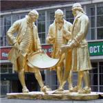'Matthew Boulton, James Watt and William Murdoch' by William Bloye and Raymond Forbes-Kings (StreetView)