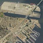 Cars Unloaded in Boston Harbor (Google Maps)