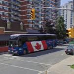 Bus with Canadian flag